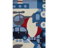 Tapis enfant Puzzle voyage bleu, 110 x 160 cm