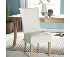 Housse de chaise unie courte 100% coton bachette épaisse ISA Ecru