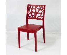 Chaise de jardin en polypropylène design végétal (lot de 4) TETI Rouge