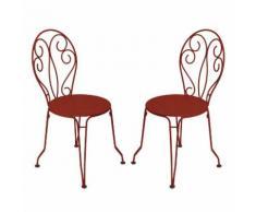 Chaise de jardin empilable en acier - assise perforée (par 2) MONTMARTRE Piment d'espelette