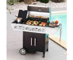 Barbecue Gaz 3 brûleurs 10.5 kW + 1 Réchaud 2.5kW sur chariot BALTIMORE