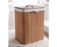 Panier à linge rectangulaire pliable latte de bambou 45x35x60cm Bambou