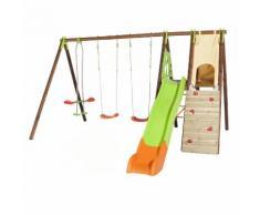 Portique bois/métal 3 agrès+toboggan+mur escalade+cabane APPOLO Techwood premium