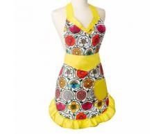 Tablier de cuisine imperméable polyester motif fleuri jaune 80x75cm FRIDA