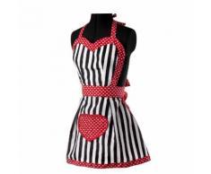 Tablier de cuisine imperméable polyester/coton rayure blanc/noir motif cœur 80x75cm ROMANTIC