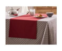 Chemin de table uni 100% coton enduit traité teflon 50x160cm GARANCE Rouge
