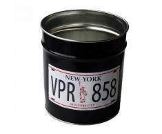 Corbeille à papier en métal 12 litres noir VRP D.24xH.26.5cm SLOGAN