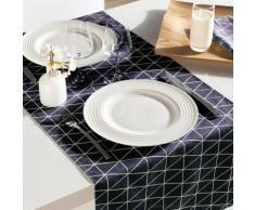 Chemin de table coton/polyes Teflon antitache triangle scandinave 45x150cm FIKA Bleu marine