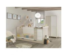 Chambre bébé lit évolutif + tiroir + armoire finition décor pin blanchi SACHA