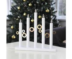 CIRCLE LIGHT - Chandelier Cercles Bois blanc 5 LED H40cm - Lampe à poser Xmas Living Glass designé par