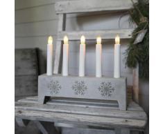 SNOWFLAKE - Chandelier Polypierre Gris Flocon 5 bougies à ampoules - Lampe à poser Xmas Living Glass designé par