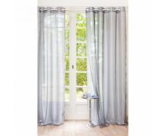 Rideau double à œillets gris 140 x 250 cm ORGANZA