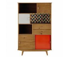 Bibliothèque vintage en bois grise/orange L 116 cm Paulette