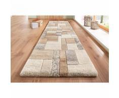Tapis rectangulaire de couloir effet patchwork en pure laine vierge L