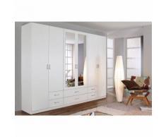 Armoire penderie 6 portes + 6 tiroirs avec miroirs Rauch