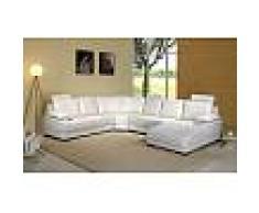items-france KENWOOD BLANC - Canape cuir 6 places blanc 260x320x168
