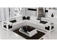 items-france MANCHESTER - Canape d'angle en cuir 6 places 298x258x85