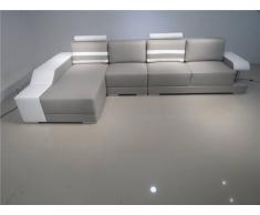 items-france BRIGHTON 2 GRIS - Canape d'angle en cuir gris et blanc 5 places 36...