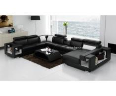 items-france ROME - Canape d'angle lit en cuir 7 personnes