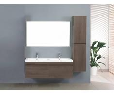 items-france ZEN 1 - Grand meuble salle de bain double vasque suspendu avec 2 co...