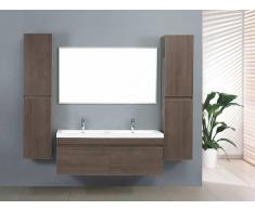 items-france ZEN 2 - Grand meuble salle de bain double vasque suspendu avec 2 co...