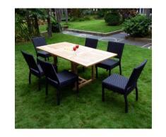 ensemble de jardin teck brut et 6 chaises en résine tressée