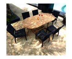 ensemble de jardin table teck 120-180 cm et 6 chaises en résine tressée