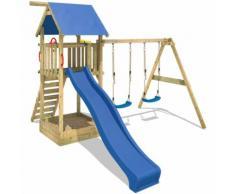 WICKEY Aire de jeux Smart Empire Portique de jeux en bois Maison d'enfants pour jardin avec 2