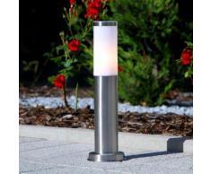 Borne lumineuse inox Kristof moderne cylindrique intemporelle extérieur - LAMPENWELT