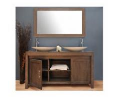 Ensemble salle de bain teck 140 grey vasque blanc - SANITECK