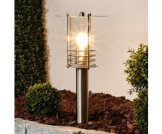 Borne lumineuse Miko élégante inox moderne matériau synthétique transparent E27 - LAMPENWELT