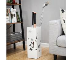 SONGMICS Porte-parapluie métallique Carré Avec réceptacle à eau et crochets Pour la maison et le