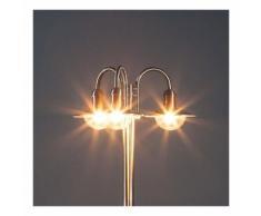 Lampadaire Damion inox lampadaire candélabre moderne classique 3 ampoules allée - LAMPENWELT
