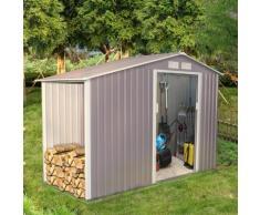 Ventoux 3.53 m² : abri de jardin avec abri bûches en acier anti-corrosion gris - CONCEPT-USINE