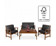 Salon de jardin Atlas en bois d'acacia certifié FSC® Table et chaises Gris - DEUBA