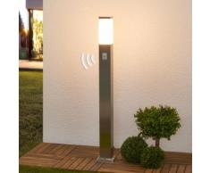 Borne lumineuse à capteur Lorian détecteur de mouvement inox forme carrée - LAMPENWELT