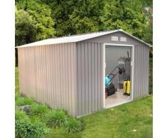 Sancy 10.85 m² : abri de jardin en acier anti-corrosion gris - CONCEPT-USINE