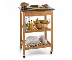 Tennessee Chariot de service cuisine Trolley 3 étages Bambou