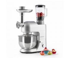 Klarstein Lucia Argentea Robot de cuisine Pétrin Mixeur Hachoir 1200w 5l