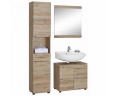 Ensemble salle de bain 3 pièces : miroir + meuble colonne + meuble so