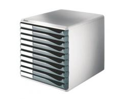 Bloc de classement Esselte - 10 tiroirs A4 gris structure grise 29x28,7x35,5cm