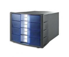 Module de classement Han Impuls en polystyrène - 4 tiroirs - L29,4 x H23,5 x P36,8 cm - gris et bleu