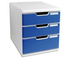 Module de classement 3 tiroirs Modulo - gris/bleu