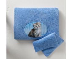 Serviette + gant de toilette - bleuet