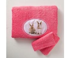 Serviette + gant de toilette - azalée