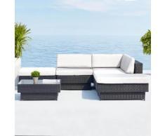 Amorgos : salon de jardin d'angle en résine 4 fils tressée noire poly rotin