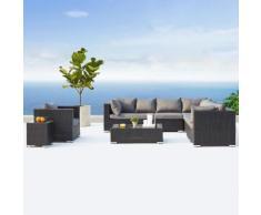 Salento noir/gris : salon de jardin panoramique 8 places en résine tressée