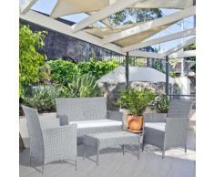 Mykonos gris/blanc : salon de jardin 4 places en résine tressée