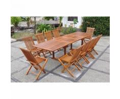Lubok : Salon de jardin Teck huilé 10 personnes - Table rectangle + 10 chaises