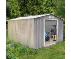 Sancy 8.84 m² : abri de jardin en acier anti-corrosion gris